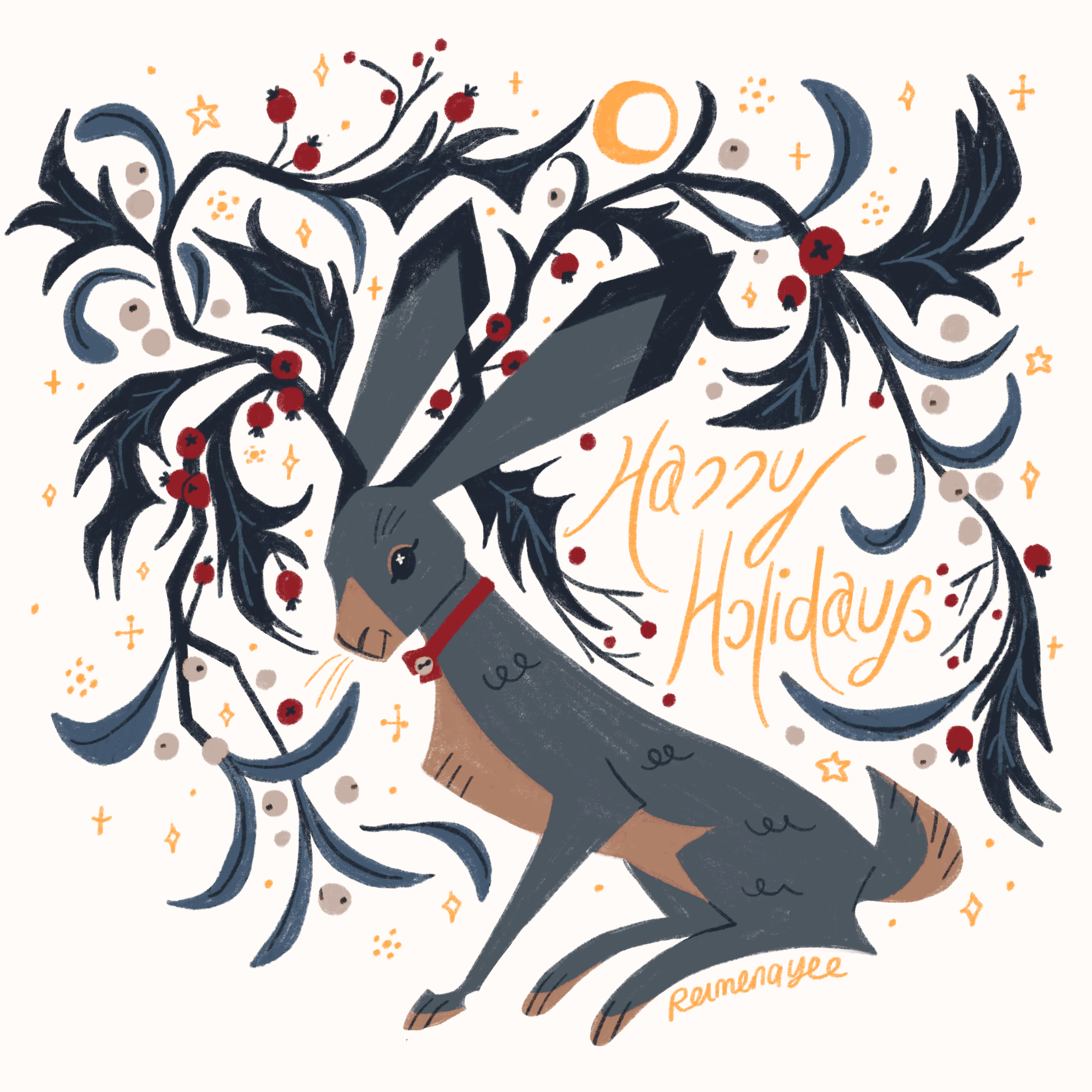 Jackrabbit with branches of mistletoe growing out of its head, with golden stars. Happy Holidays!
