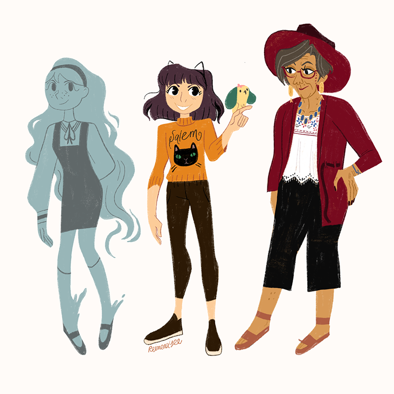 Character designs of the three main characters for Seance Tea Party: the blue ghost girl in a pinafore and headband, the purple-haired Halloween girl, and a well-dressed artsy grandmother in a big red fedora.