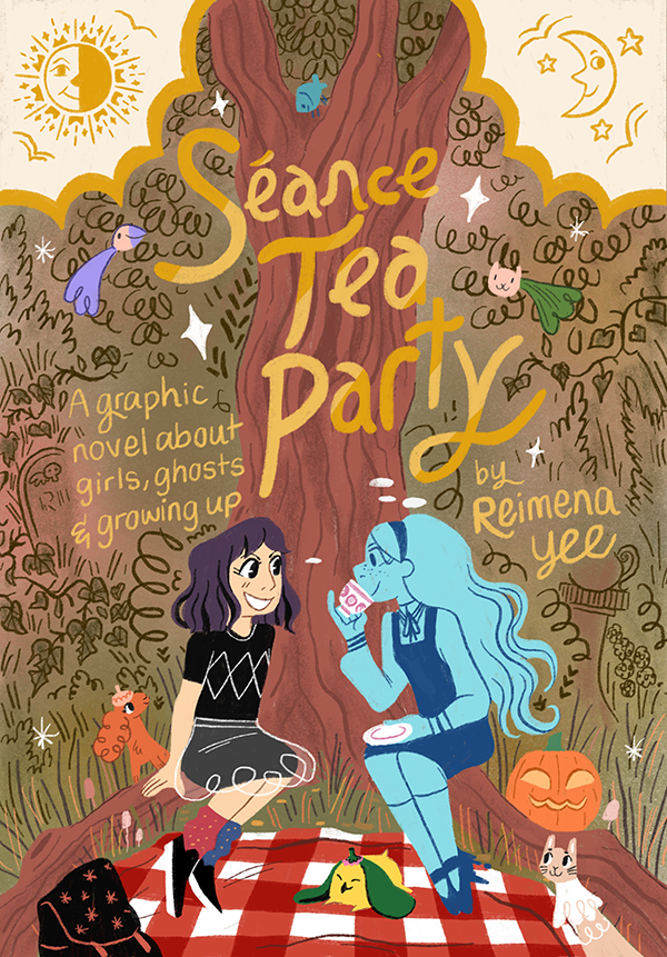 Poster promoting the graphic novel Seance Tea party, featuring the two main characters, a girl and a ghost, having a tea party by a big tree. They are surrounded by little fairy animals.